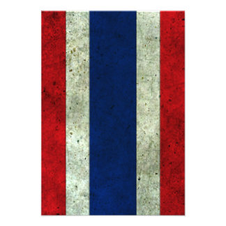 Thai Flag Aged Steel Effect Personalized Invites