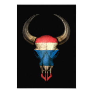 "Thai Flag Bull Skull on Black 3.5"" X 5"" Invitation Card"