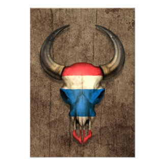 Thai Flag Bull Skull on Wood Effect Personalized Announcement