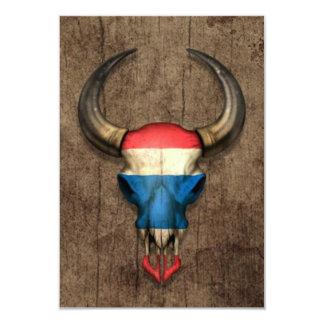 "Thai Flag Bull Skull on Wood Effect 3.5"" X 5"" Invitation Card"