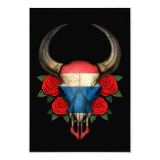 "Thai Flag Bull Skull with Red Roses 3.5"" X 5"" Invitation Card"