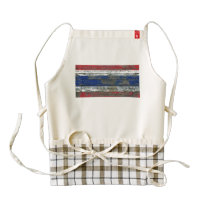 Thai Flag on Rough Wood Boards Effect Zazzle HEART Apron