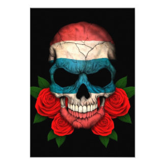 Thai Flag Skull with Red Roses Personalized Invitation