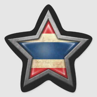 Thai Flag Star on Black Star Sticker