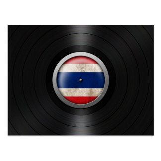 Thai Flag Vinyl Record Album Graphic Postcard