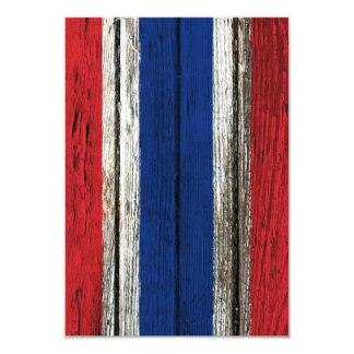 """Thai Flag with Rough Wood Grain Effect 3.5"""" X 5"""" Invitation Card"""