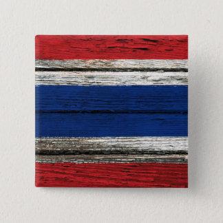 Thai Flag with Rough Wood Grain Effect Pinback Button