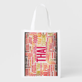 Thai Food and Cuisine Menu Background Reusable Grocery Bag