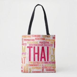 Thai Food and Cuisine Menu Background Tote Bag