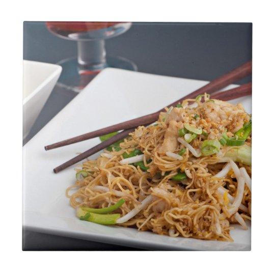 Thai Food Lo Mein Noodles Dish Ceramic Tile