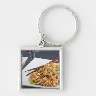 Thai Food Lo Mein Noodles Dish Keychain