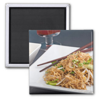 Thai Food Lo Mein Noodles Dish 2 Inch Square Magnet