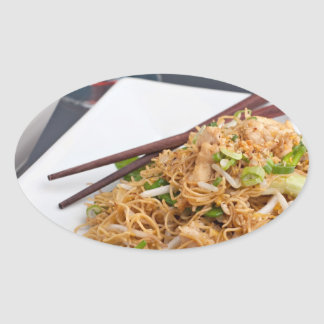 Thai Food Lo Mein Noodles Dish Oval Sticker