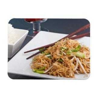 Thai Food Lo Mein Noodles Dish Rectangular Photo Magnet