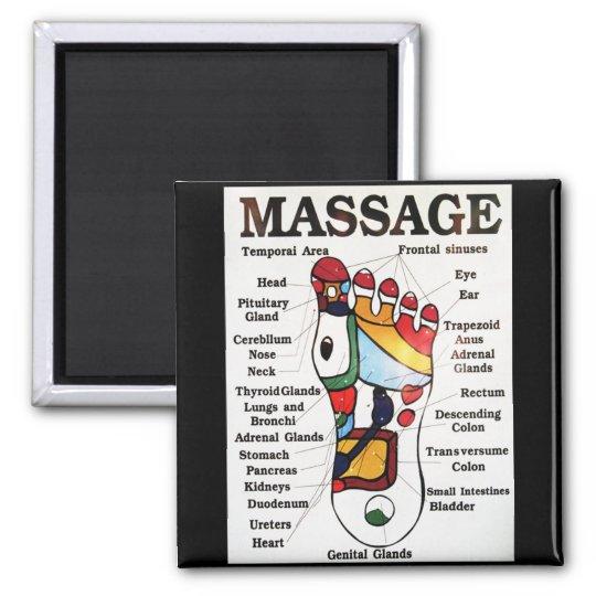 Thai Foot Massage ~ Reflexology map 2 Inch Square Magnet