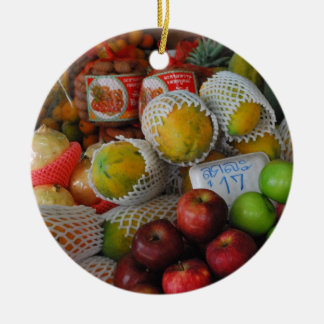 Thai Fruit Double-Sided Ceramic Round Christmas Ornament