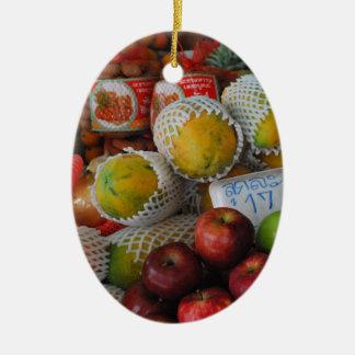 Thai Fruit Double-Sided Oval Ceramic Christmas Ornament