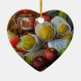 Thai Fruit Double-Sided Heart Ceramic Christmas Ornament