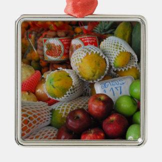 Thai Fruit Square Metal Christmas Ornament
