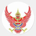THAI GARUDA - KROOTH - SANSKRIT CLASSIC ROUND STICKER