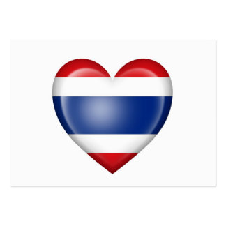 Thai Heart Flag on White Business Card