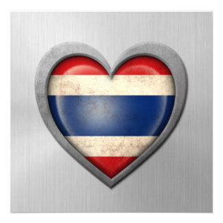 Thai Heart Flag Stainless Steel Effect Personalized Invite