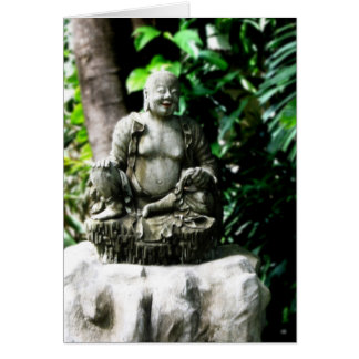 Thai Laughing Buddha in Garden Card