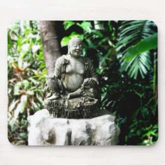Thai Laughing Buddha in Garden Mouse Pad