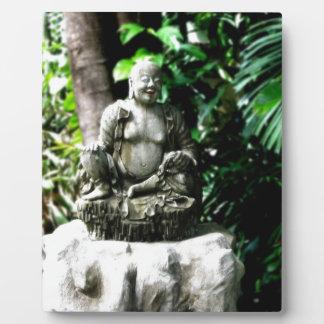 Thai Laughing Buddha in Garden Display Plaque