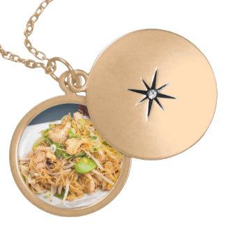 Thai Lo Mein Noodle Stir Fry Round Locket Necklace