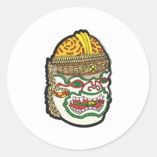 Thai Mask Round Sticker