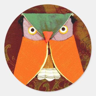 Thai Owl Handicraft Classic Round Sticker
