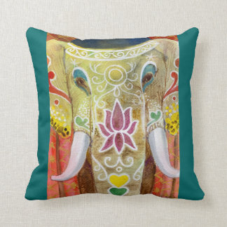Thai Painted Elephant Throw Pillows