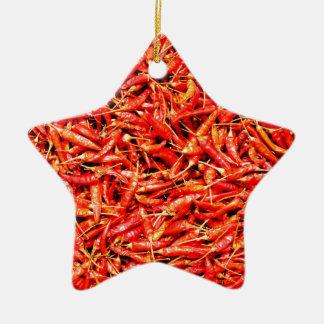 Thai peppers ceramic ornament