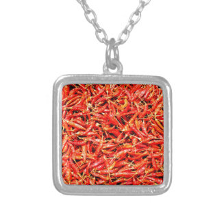 Thai peppers silver plated necklace