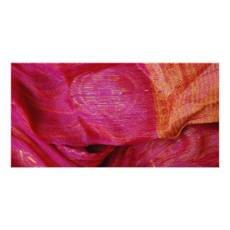 thai silk material photo greeting card