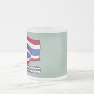Thai Soccer Ball and Flag Frosted Glass Coffee Mug