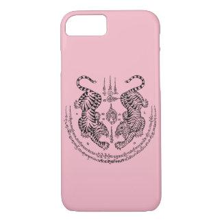 "Thai Tattoo Designs Tiger ""Yant Suea Koo"" Pink iPhone 8/7 Case"