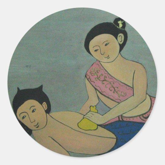 Thai Traditional Yoga Massage Classic Round Sticker