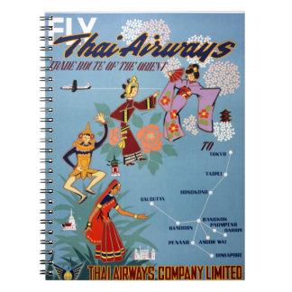 Thai Vintage Air Travel Poster Restored Notebook