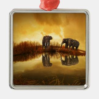 thailand-142982 ELEPHANTS GOLDEN BROWN TUNDRA NATU Square Metal Christmas Ornament