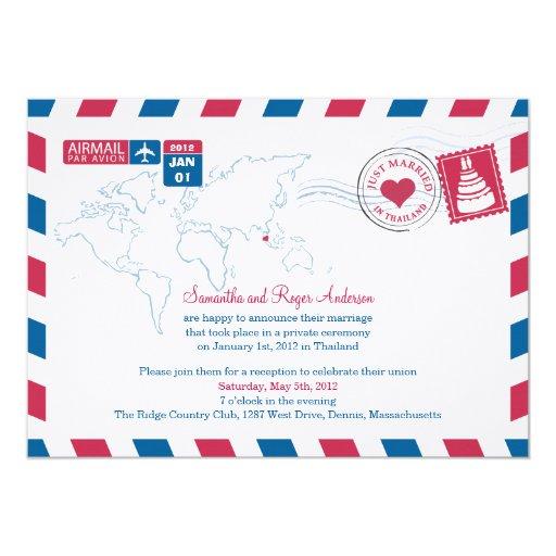 Thailand Air Mail Post Wedding Reception 5x7 Paper Invitation Card