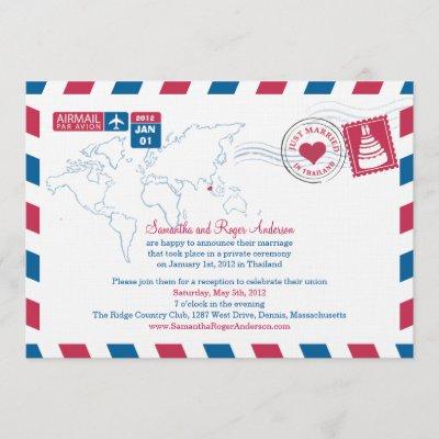 Thailand Air Mail Post Wedding Reception Invitation