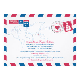 Thailand Air Mail Post Wedding Reception Personalized Announcements