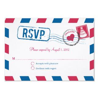 """Thailand Air Mail Wedding RSVP 3.5"""" X 5"""" Invitation Card"""
