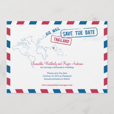 Thailand Air Mail Wedding Save The Date