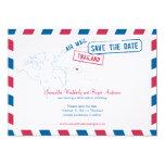 Thailand Air Mail Wedding Save The Date 5x7 Paper Invitation Card