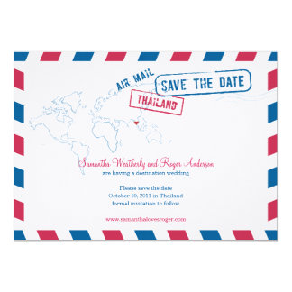 Thailand Air Mail Wedding Save The Date Personalized Announcement