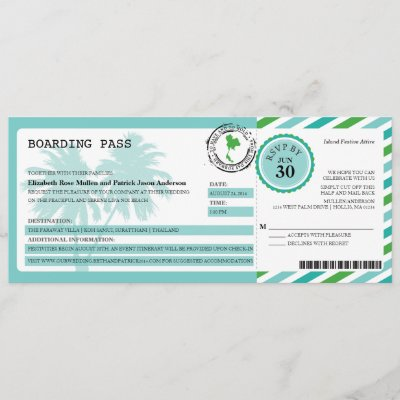 Thailand Airmail Boarding Pass Wedding Invitation