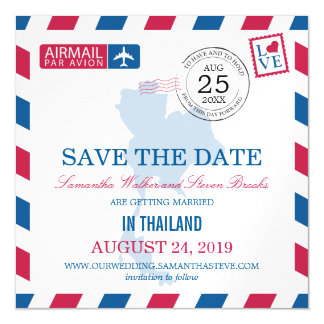 Thailand Airmail Save the Date Magnetic Card